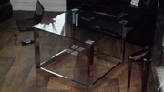 Saturn chrome and glass coffee table,  very modern,  bargain.